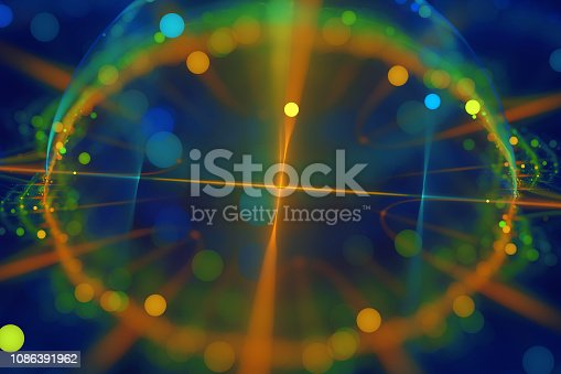 Abstract Clocks Compass Tachometer Bright Neon Colorful Circle Light Pattern on Navy Blue Background Fractal Fine Art