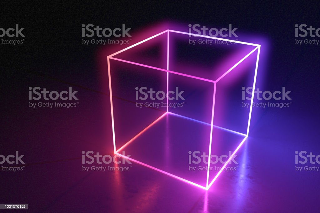 Abstract neon cube brightly shining in dark room. 3D rendered illustration. stock photo