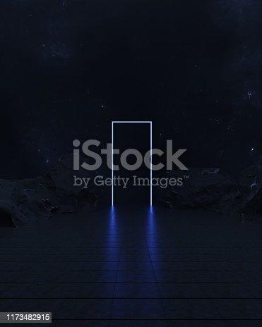 istock Abstract neon door empty space. 1173482915