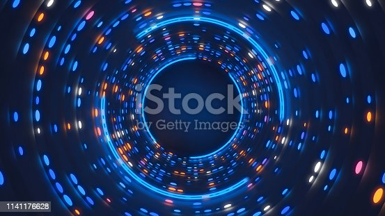 3d rendering abstract neon lights with luminous swirling backdrop.