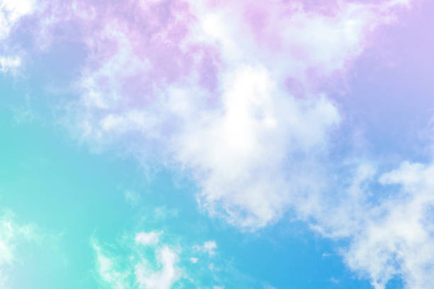 Abstract neon pastel background. Purple and teal blue sky, toned image stock photo