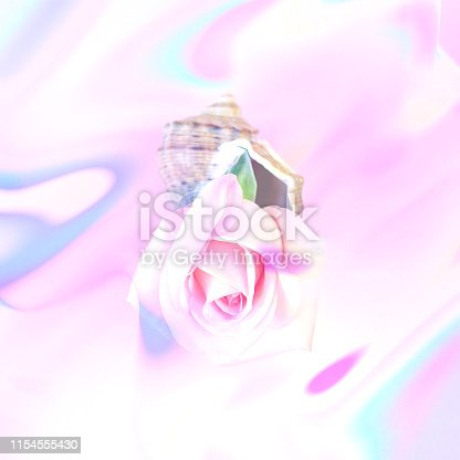 1147995495 istock photo Abstract neon photo with a shell and a rose. 1154555430