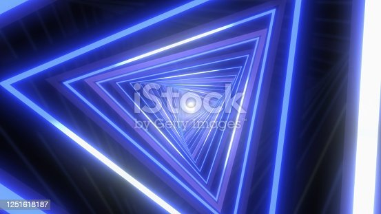 istock Abstract Neon Tunnel Glow Lights VJ Sci-Fi Laser Triangles Moving - Abstract Background Texture 1251618187