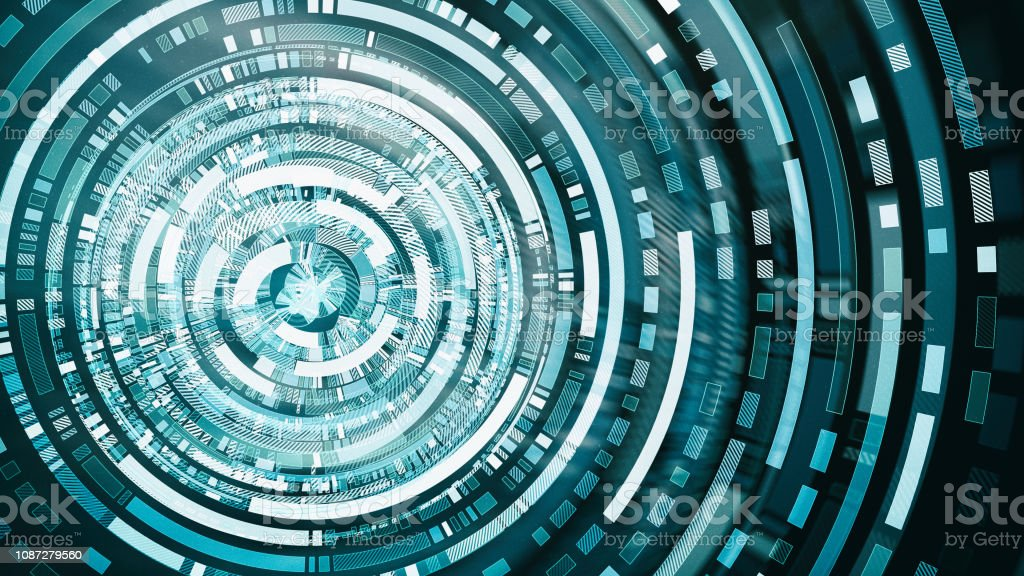 Abstract network block chain system hologram stock photo