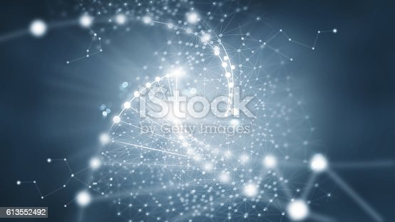istock Abstract network connection on dark background 613552492