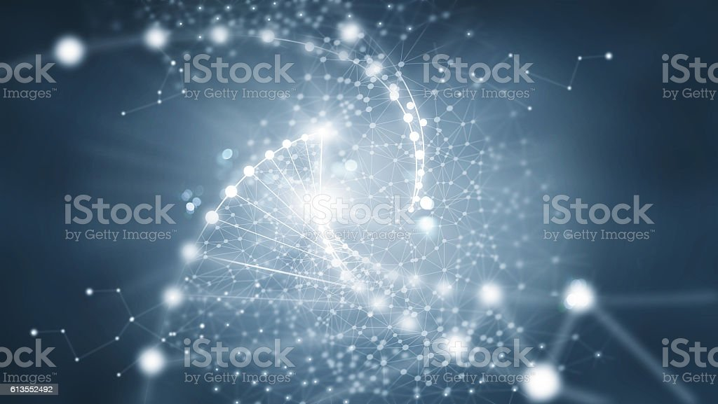 Abstract network connection on dark background - foto de stock
