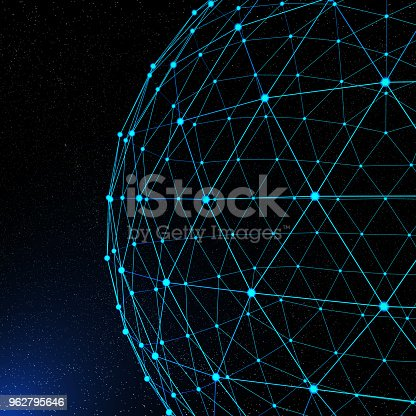 643972462 istock photo Abstract Network Connections On Space 962795646