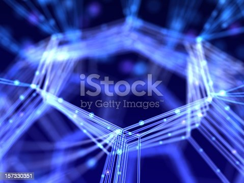 istock Abstract network design with glowing lines on dark blue back 157330351
