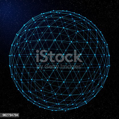 643972462 istock photo Abstract Network Globe On Space 962794794