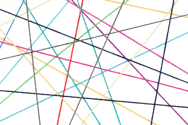 Abstract network made from colorful cotton yarn stock photo