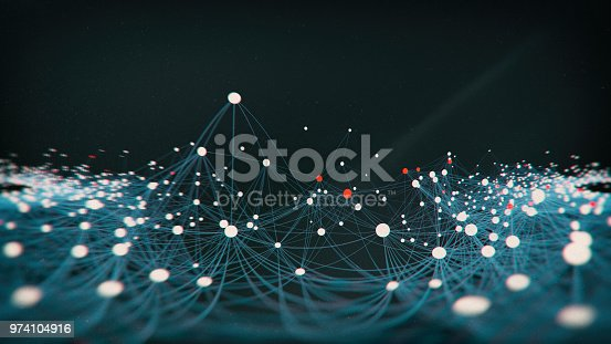 Abstract  network molecular block chain structure - 3d rendered image on black background