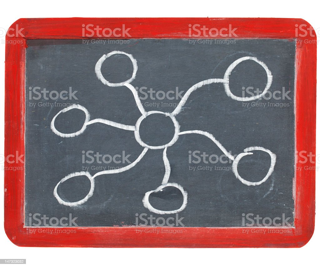 abstract network on blackboard royalty-free stock photo