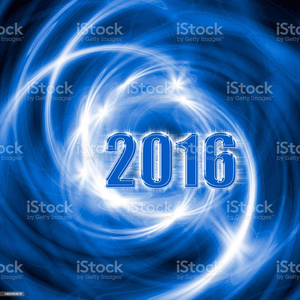 Abstract New Year 2016 blue background. stock photo