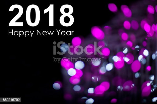 istock Abstract New Year background with the inscription 2018 Happy new year. Photo with text and pink bokeh 862216792