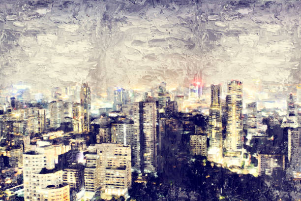 abstract night city and offices building in city on oil paint background. - impressionist painting stock photos and pictures