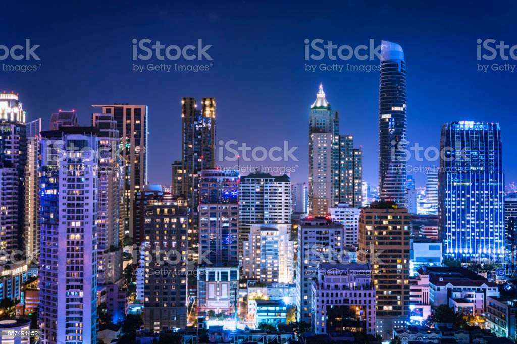 abstract night cityscape blue light filter - can use to display or montage on product royalty-free stock photo