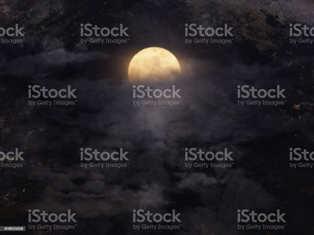 Abstract night sky with full moon for halloween background. stock photo