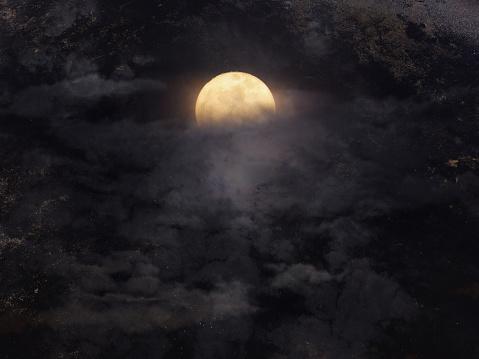 Soyut Gece Gökyüzünde Dolunay Için Halloween Arka Plan Ile Stok Fotoğraflar & Akşam karanlığı'nin Daha Fazla Resimleri