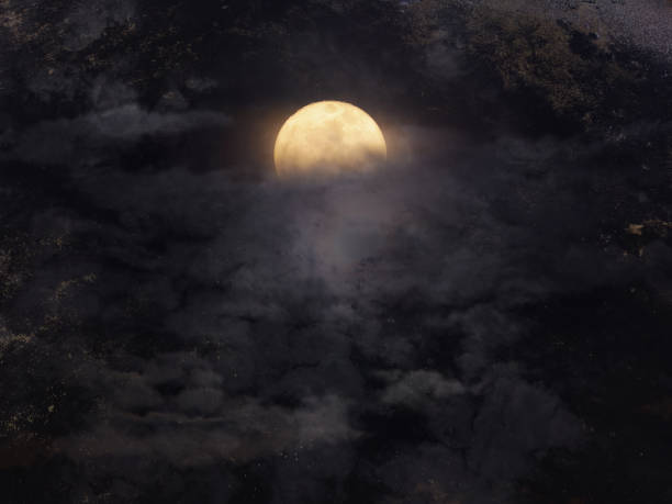 abstract night sky with full moon for halloween background. - horror stock pictures, royalty-free photos & images