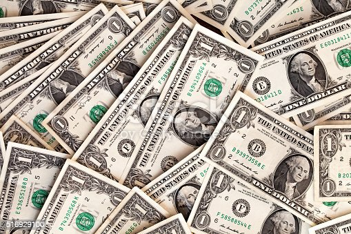 istock Abstract of American bill notes over all the place 516929100