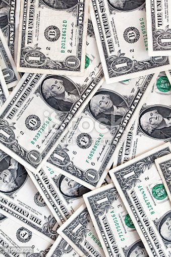 istock Abstract of American bill notes over all the place 516929222