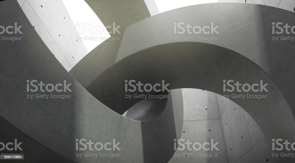 Résumé de l'espace de l'architecture avec le rythme des blocs de béton de cercle et de la lumière et l'ombre du soleil, rendu 3D - Photo