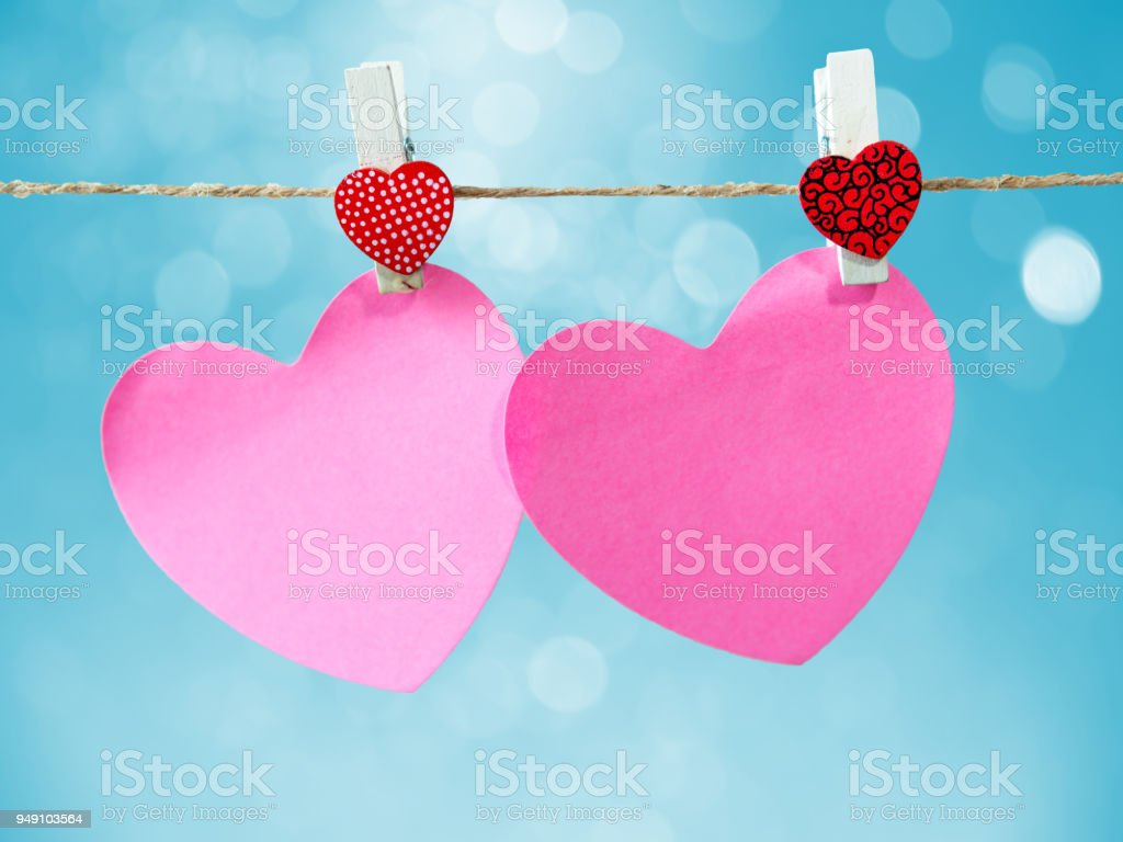 Abstract Of Blank Paper Heart On Bokeh Bule Background Texture For ...