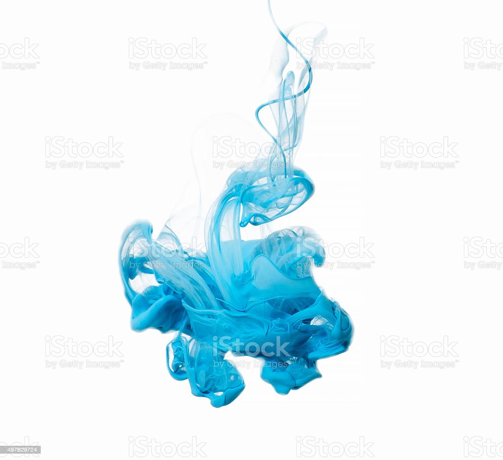 Abstract of blue acrylic paint in water. stock photo