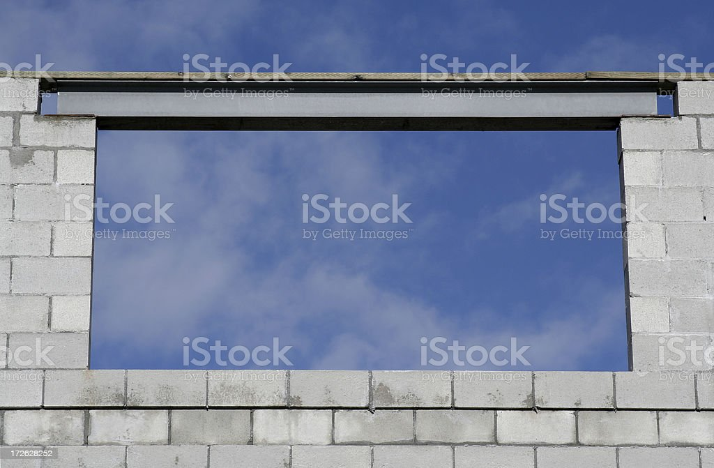 Abstract of Blue Sky Framed on Construction Site stock photo