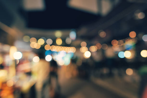 Abstract of blur / bokeh : Night market in Thailand. stock photo