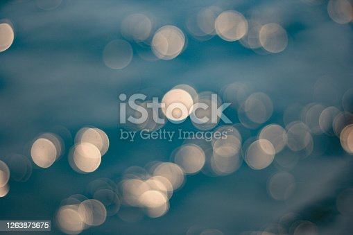 istock Abstract of bokeh light from water background. 1263873675