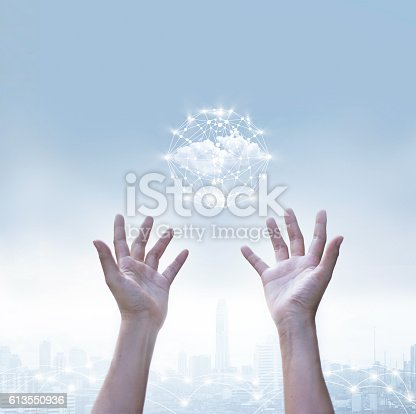 istock Abstract of business cloud computing circle global network connection 613550936