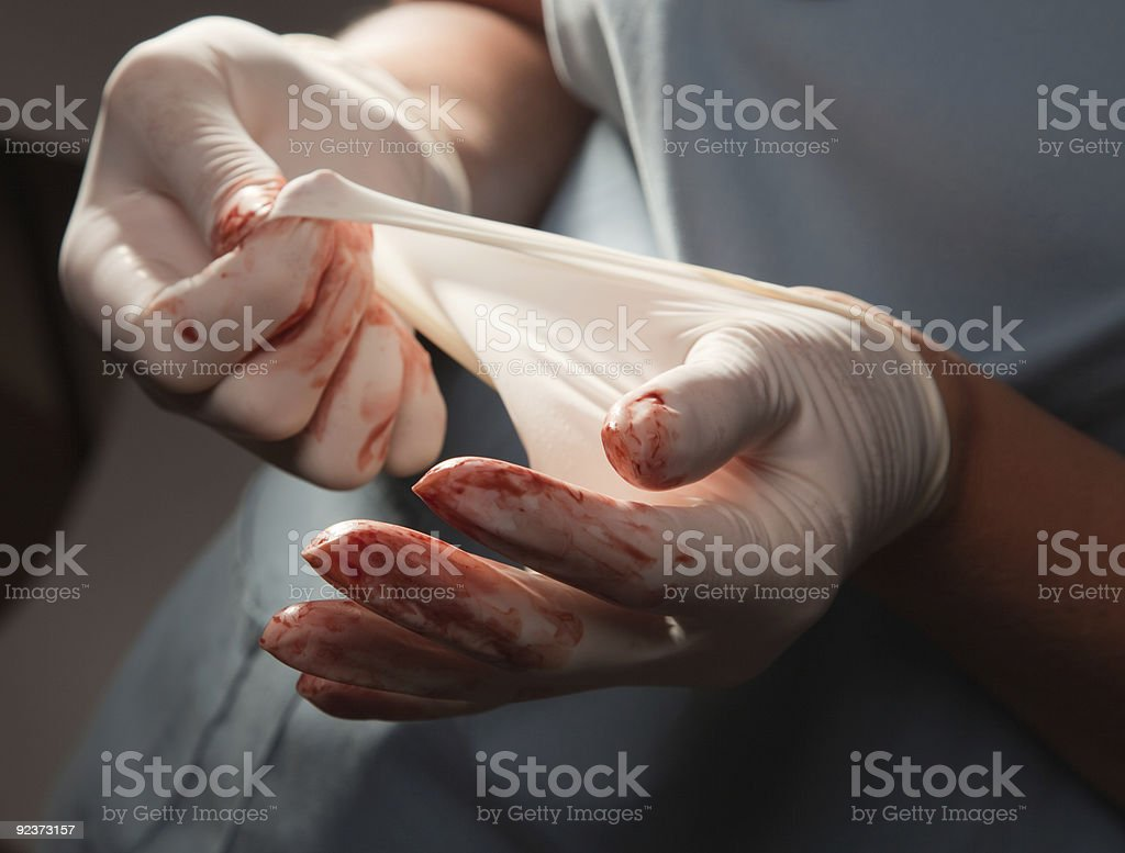 Abstract of Doctors Bloody Surgical Gloves royalty-free stock photo