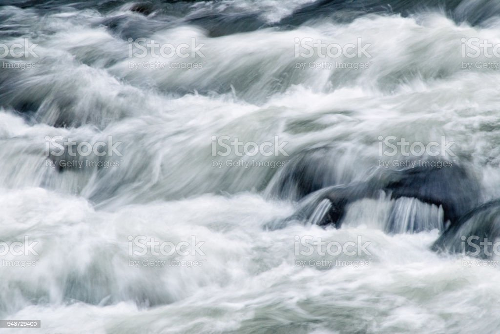 Abstract of Fast Flowing Moving Water Blurred Motion stock photo