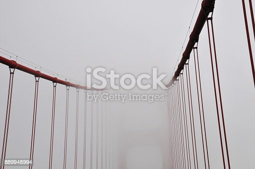 Creative uncommon and unusual point of view of Golden Gate Bridge on a very foggy day San Francisco, California, USA