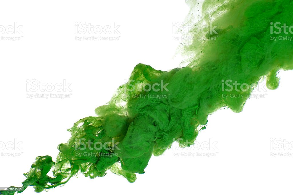 Abstract of green acrylic paint in water. stock photo