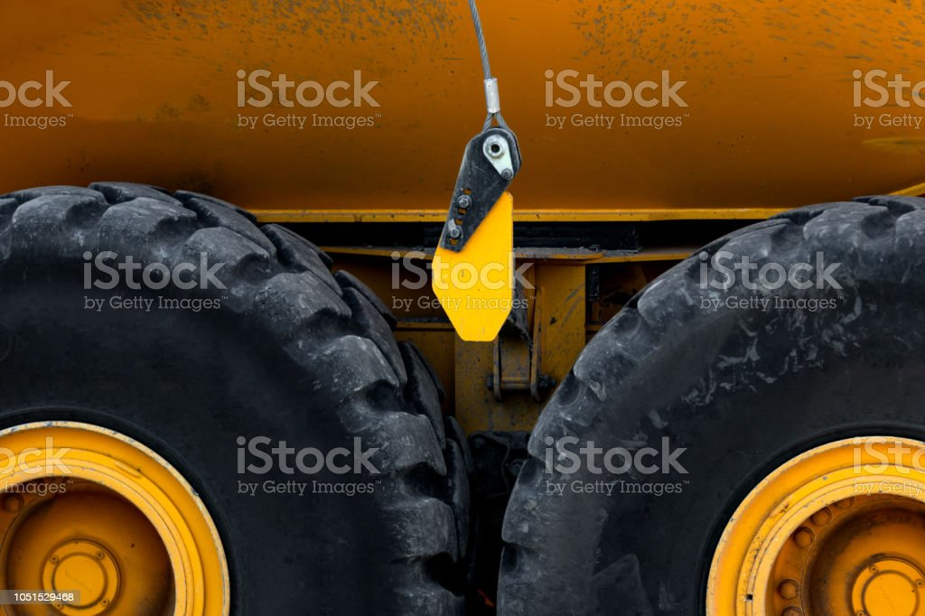 Abstract of heavy duty truck wheels stock photo