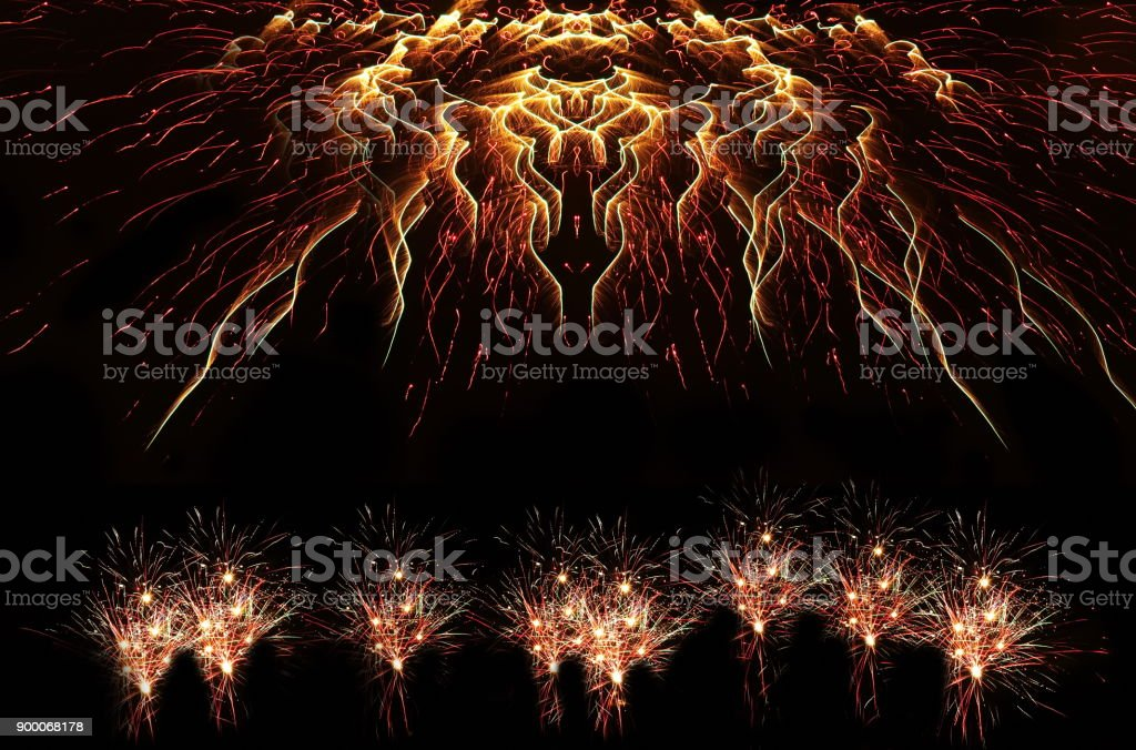abstract of light firework on new year night party celebration holiday on black dark background stock photo