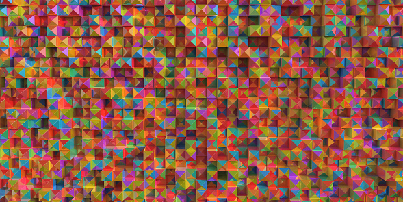 An abstract image of a many pastel coloured prismatic shapes stacked in a grid and randomly extended forwards.Each prism has different coloured faces.