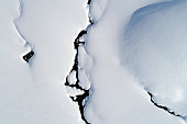 Aerial view of abstract natural pattern, winter landscape with a mountain stream in Swiss Alps.