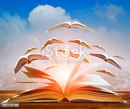 istock abstract of open book flying as knowledge wisdom going to future 692100166
