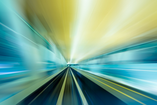 Abstract of Speed – Train in a modern City