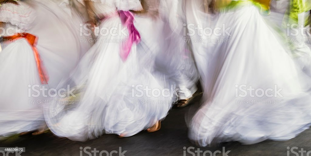 Abstract of traditional dancers with motion blur stock photo