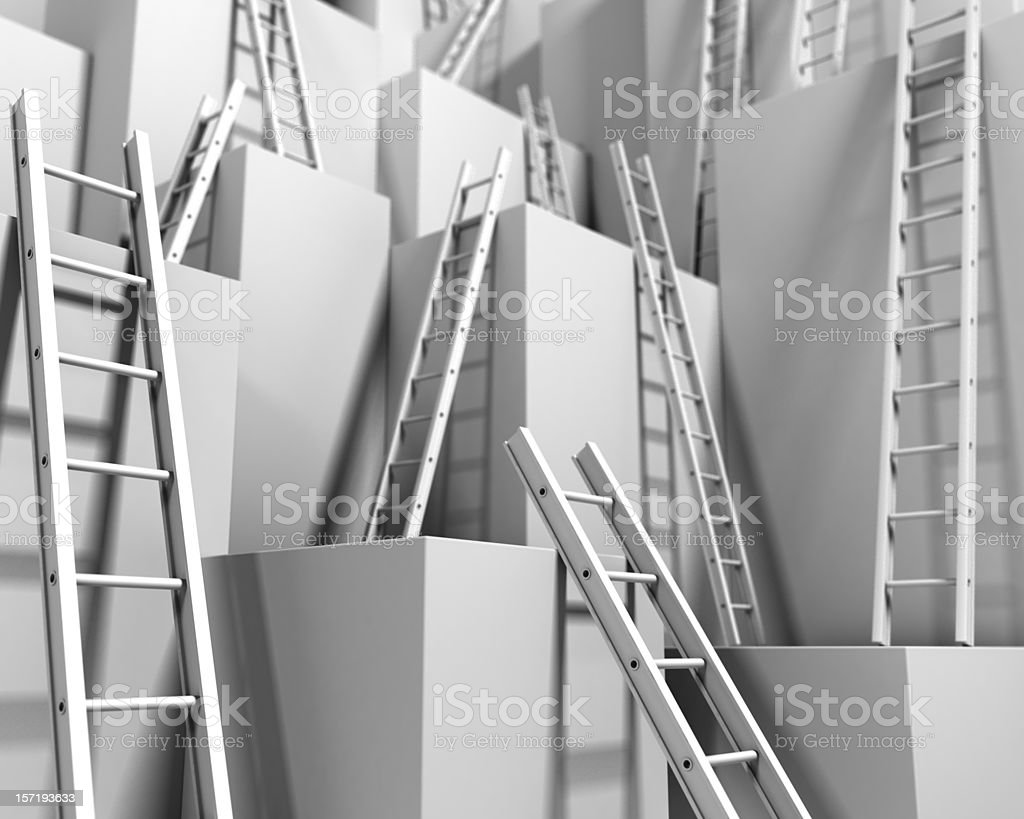 Abstract of various ladders suggesting corporate ladder royalty-free stock photo