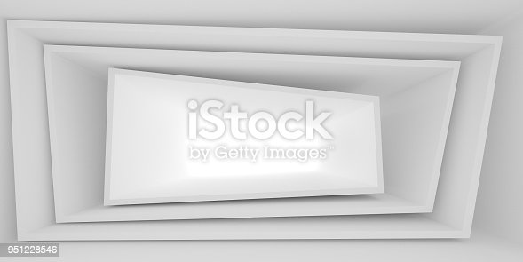 951228698 istock photo Abstract of white architectural space,Concept of minimal futuristic interior style.3D rendering 951228546
