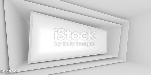 951228698 istock photo Abstract of white architectural space,Concept of minimal futuristic interior style.3D rendering 951228560