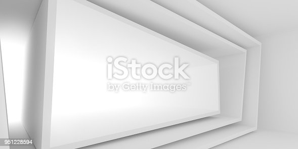 951228698 istock photo Abstract of white architectural space,Concept of minimal futuristic interior style.3D rendering 951228594
