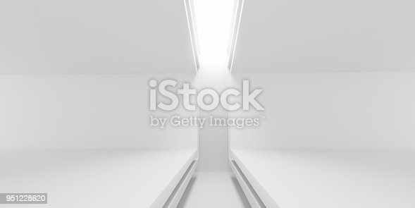 951228698 istock photo Abstract of white architectural space,Concept of minimal futuristic interior style.3D rendering 951228620