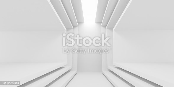951228698 istock photo Abstract of white architectural space,Concept of minimal futuristic interior style.3D rendering 951228634