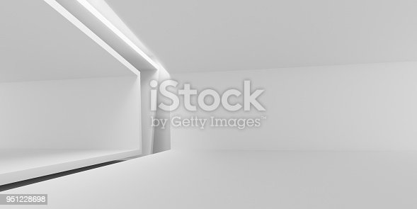istock Abstract of white architectural space,Concept of minimal futuristic interior style.3D rendering 951228698